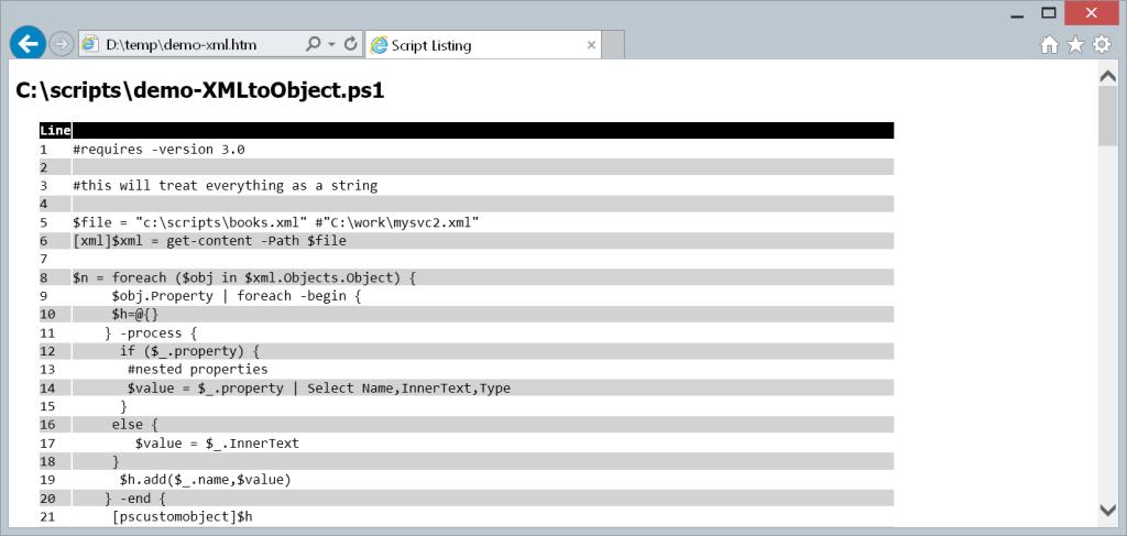 convertto-htmllisting