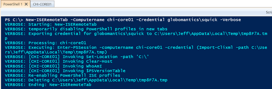 Creating a remote tab with credential