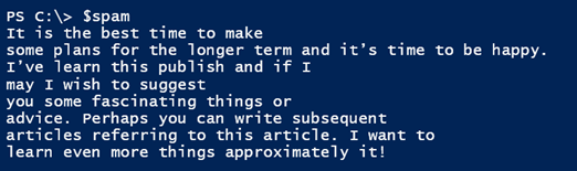 PowerShell generated spam!