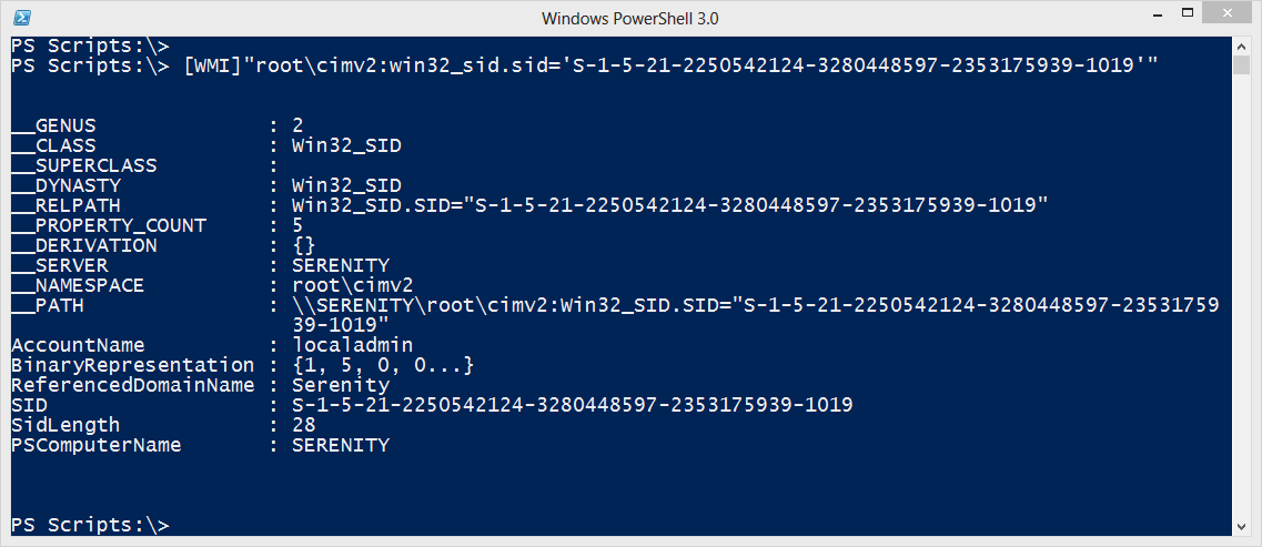 Resolving SIDs with WMI, WSMAN and PowerShell • The Lonely Administrator
