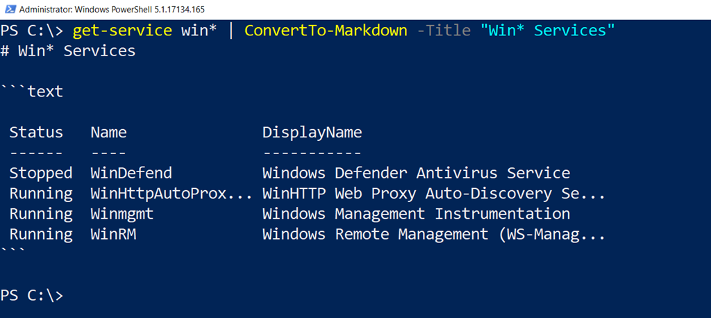 Converting PowerShell to Markdown • The Lonely Administrator
