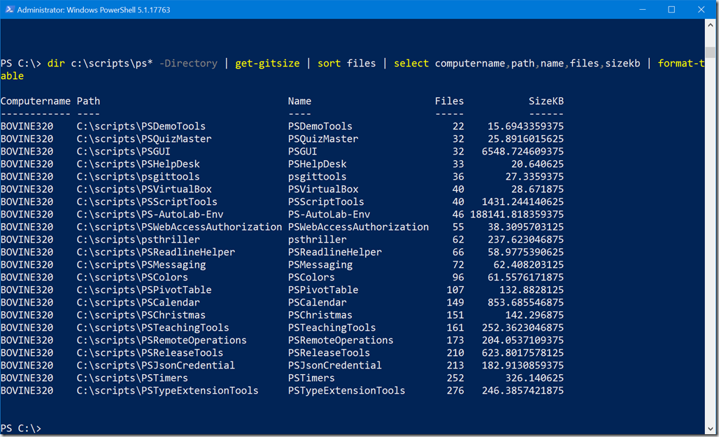 PowerShell Scripting • Getting Git Size with PowerShell Retooled
